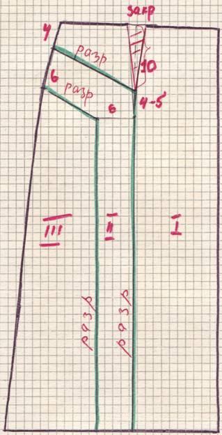 чертеж юбки с фигурными складками