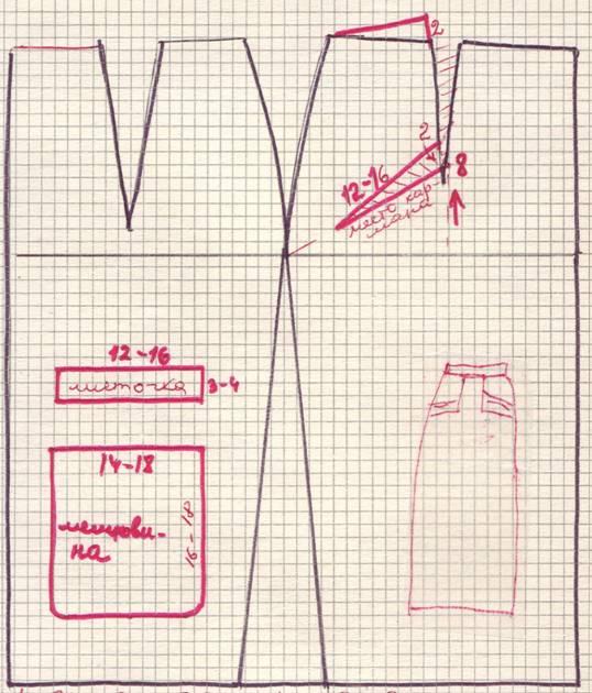 чертеж юбки с односторонней складкой сзади