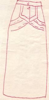 фасон юбки с фигурным патом и драпировкой