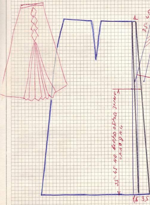 чертеж юбки с верообразной складкой