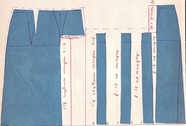 крой юбки с ассиметричными односторонними складками