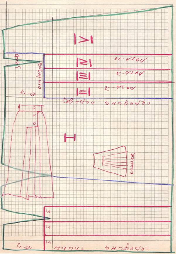 чертеж юбки с ассиметричными односторонними складками