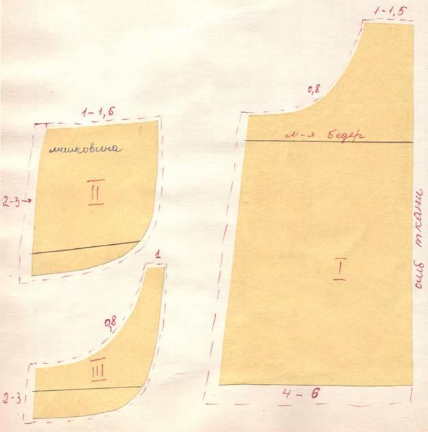 чертеж юбки с подрезными карманами