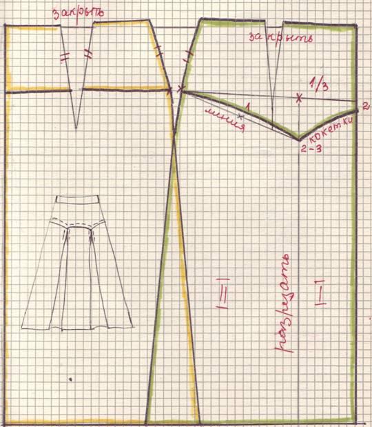 чертеж юбки на кокетке