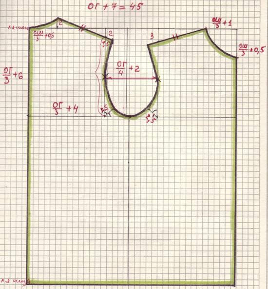 построение лекало детской футболки