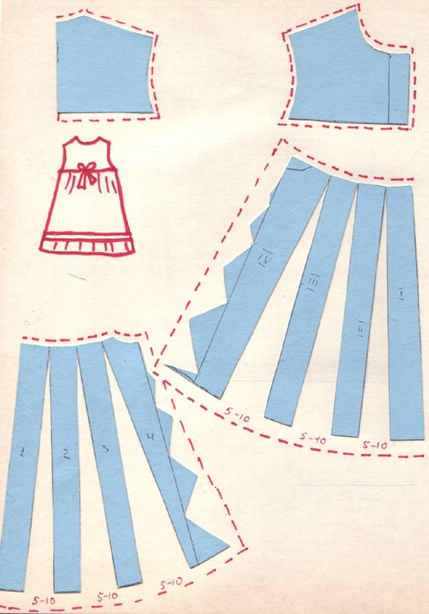 крой детского платья на прямой кокетке