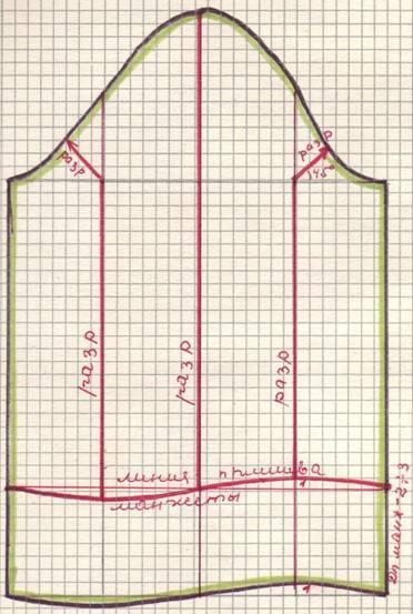 чертеж Длинный расклешенный рукав на высокой узкой манжете