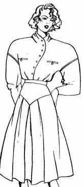 Модель юбки с отрезной кокеткой