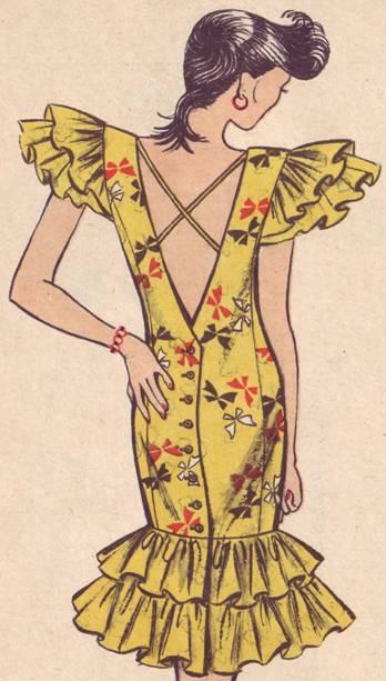 платье полуприлегающего силуэта с оборками