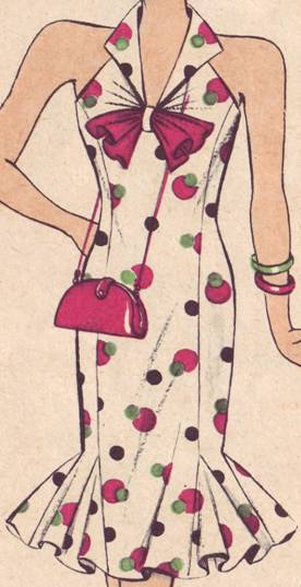 платье полуприлегающего силуэта. по низу переда клинья. воротник апаш
