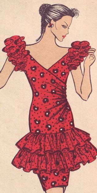 фасон платья по проймам и по линии бедер двойные присобранные оборки. по переду- драпировки