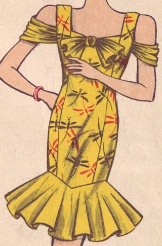 фасон платья с рельефами и воланами