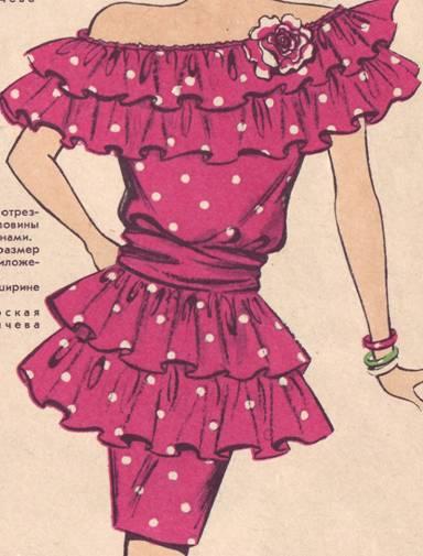 фасон платья с воланами по линии горловины и по низу