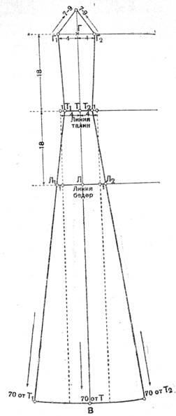 Рис. 7 Чертеж выкройки вставного бочка к платью с цельнокроенным длинным рукавом