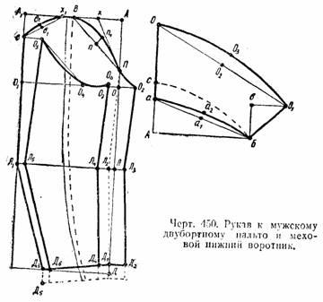 крой и пошив мужского двубортного пальто